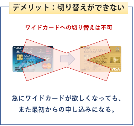ANA東急カードはワイドカードへの切り替えができない