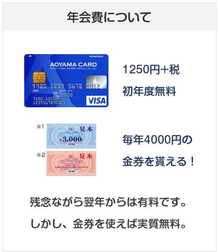 AOYAMA VISAカードの年会費について 金券で実質年会費無料