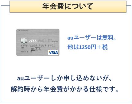 au WALLET クレジットカードの年会費について