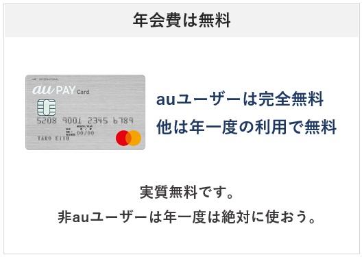 au PAY カードの年会費について