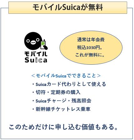 モバイルSuicaの年会費が無料