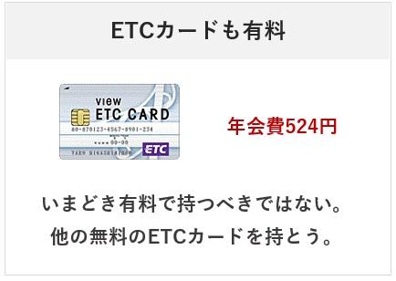 ビューカードのETCカードの年会費について