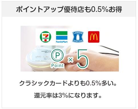 三井住友VISAデビュープラスカードはポイントアップ優待店も0.5%お得