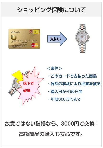 dカードGOLDのショッピング保険について説明図