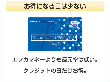 エフカクレジットカードはフジでお得になる日は少ない
