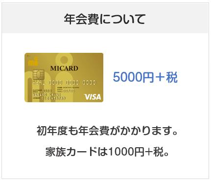 エムアイカードゴールドの年会費は5000円+税