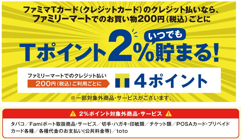 ファミマTカードは水道光熱費やたばこなどは0.5%還元