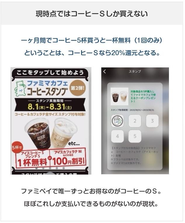 FamiPay(ファミペイ)のコーヒースタンプは、コーヒーSだけ買うと20%還元になりお得