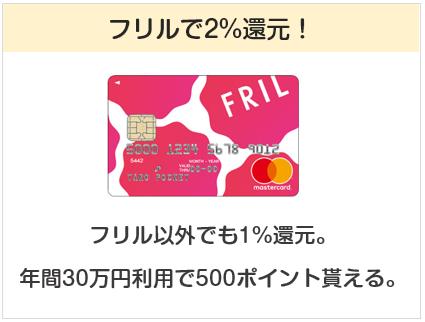 フリルカードはフリルで2%還元のクレジットカード