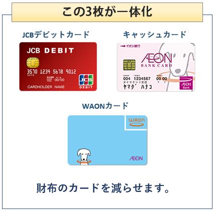 イオン銀行キャッシュ+デビットは3枚のカードが一体に