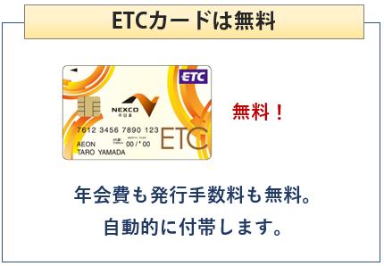 イオン NEXCO中日本カードはETCカードが無料