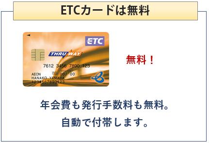 イオンTHRU WAYカードはETCカード無料