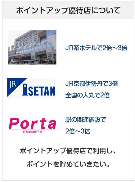 J-WESTカードのポイントアップ優待店について(2倍~3倍)