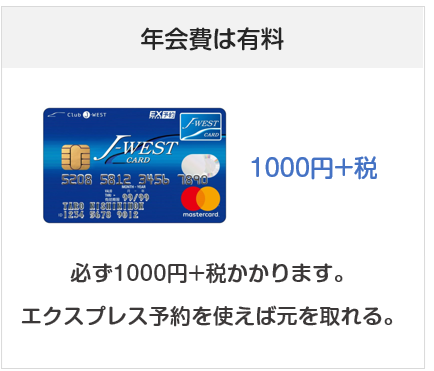 J-WESTカードの年会費は有料(初年度も有料)