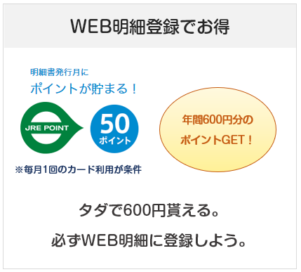 ジェクサービュー・スイカカードはWEB明細登録&毎月の利用で年間600ポイント貰える