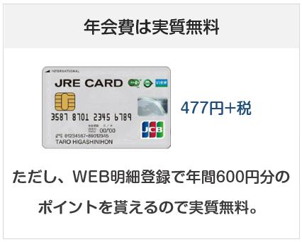 JREカードの年会費は実質無料