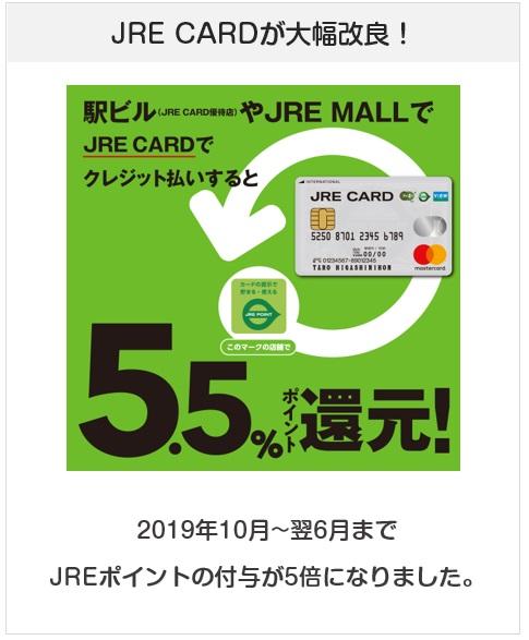 JREカードは2010年10月から2020年6月までJREポイント加盟店で還元率約5%になる