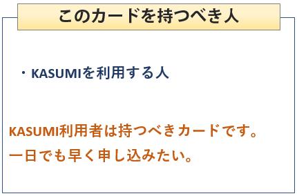 KASUMIカードを持つべき人
