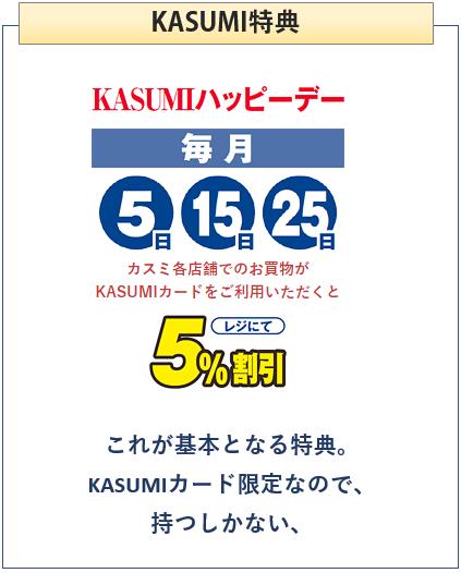 KASUMIカードのKASUMIでの特典5%オフ