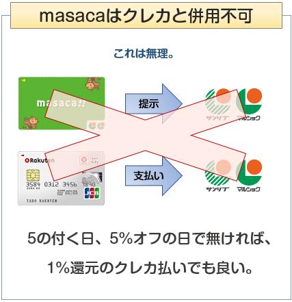 masacaはクレカとの併用不可