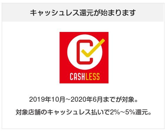 キャッシュレス還元が2019年10月から2020年6月まで始まる
