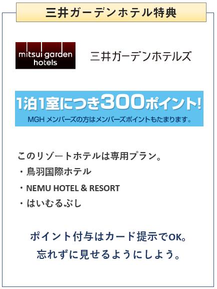 三井ショッピングパークカードの三井ガーデンホテルでの特典について