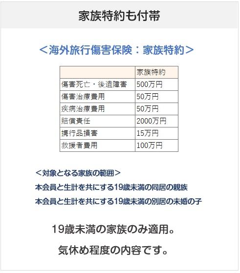 三井住友VISAエグゼクティブカードの海外旅行傷害保険の家族特約について
