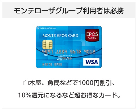 モンテエポスカードはモンテローザグループ(白木屋、魚民など)でお得になるクレジットカード