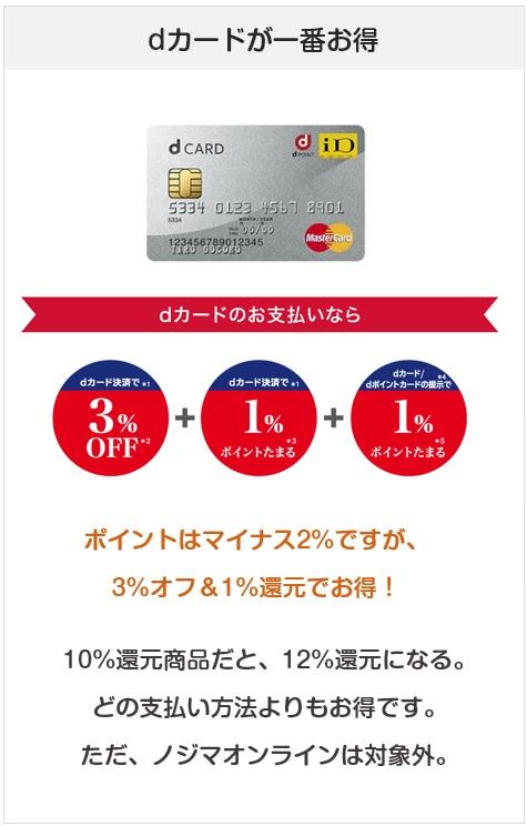 ノジマはdカードが一番還元率が高い