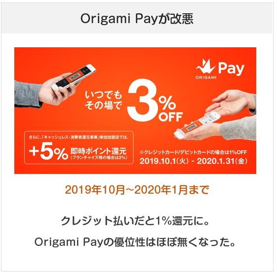 Origami Payが2019年10月から改悪