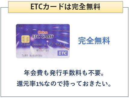 オリコカード ザ ポイント プレミアム ゴールドはETCカードは無料
