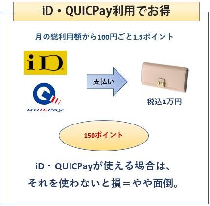 オリコカード ザ ポイント プレミアム ゴールドはiD、QUICPayでの支払いで0.5%ポイントアップ