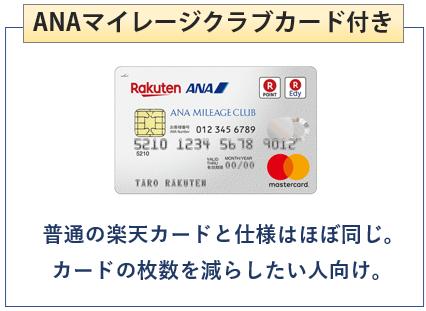 楽天ANAマイレージクラブカードはANAマイレージクラブカード付き