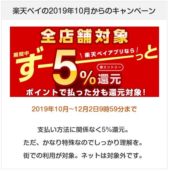 楽天ペイの2019年10月からの5%還元キャンペン