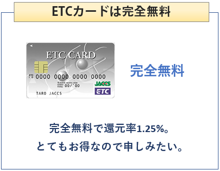 レックスカードのETCカードは完全無料