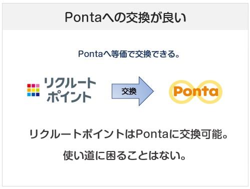 リクルートカードはリクルートポイントが貯まるが、Pontaポイントに等価で交換可能