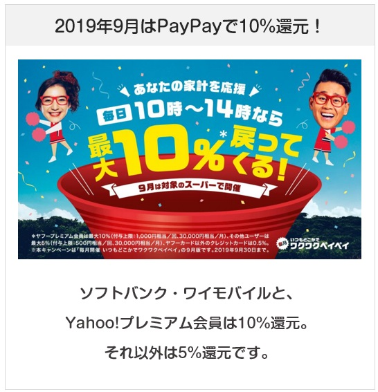2019年9月はPayPayで西友・リヴィン・サニーが最大10%還元キャンペーン(ワクワクPayPay)