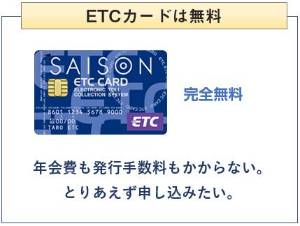 セゾンカードはETCカードは無料