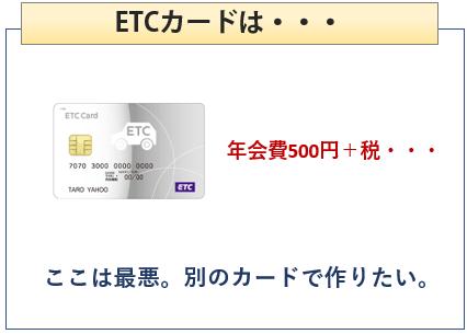 Yahoo! JAPANカードはETCカードが有料・・・