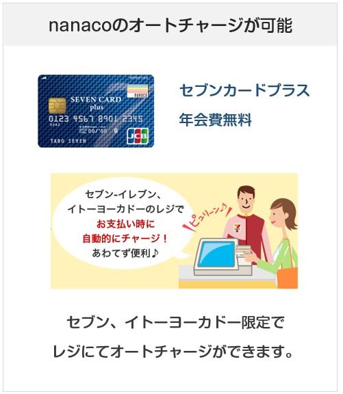 セブンカードプラスはnanacoのオートチャージができるクレジットカード
