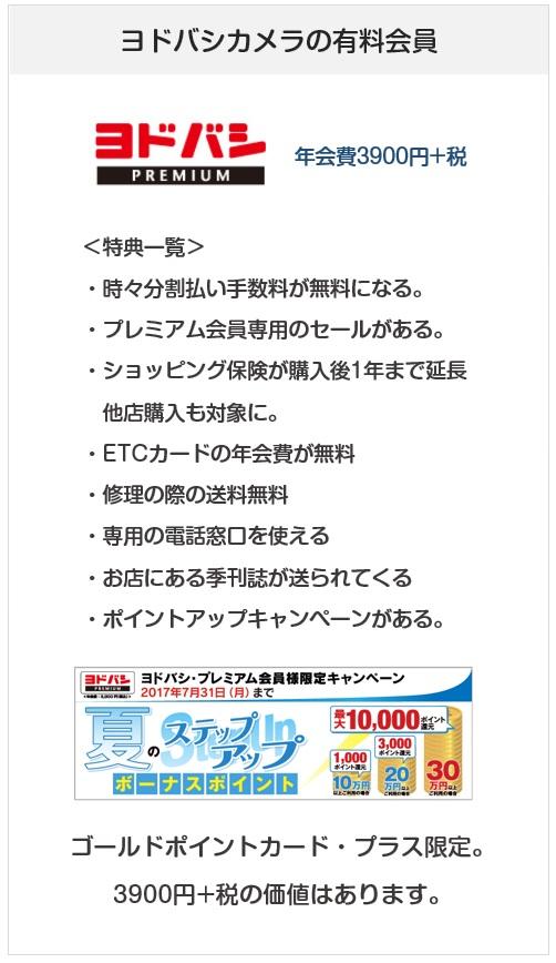 ゴールドポイントカード・プラスはヨドバシカメラの有料会員(ヨドバシプレミアム)に加入できるクレジットカード