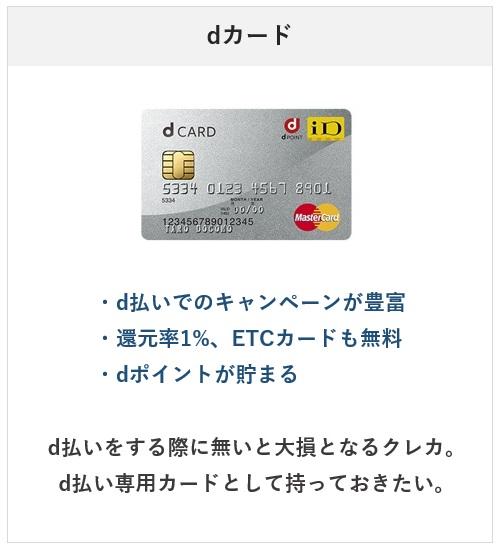 2021年おすすめのクレジットカード・dカード