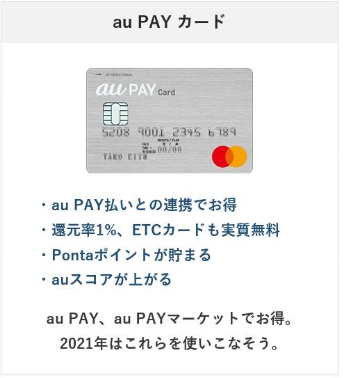 2021年おすすめのクレジットカード・au PAY カード