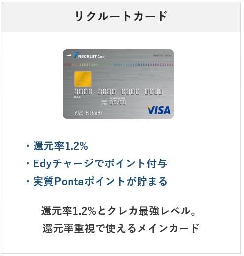 2021年おすすめのクレジットカード・リクルートカード