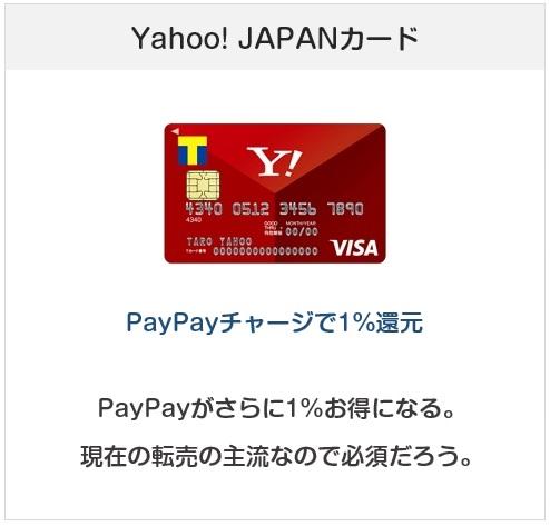 Yahoo! JAPANカードはPayPayチャージで1%還元になるクレジットカード