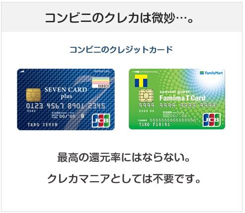 コンビニ系クレジットカードは一番お得にはならない