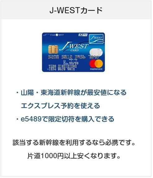 おすすめクレジットカード:J-WESTカード