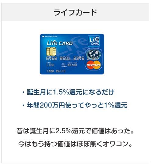 おすすめできないクレジットカード:ライフカード