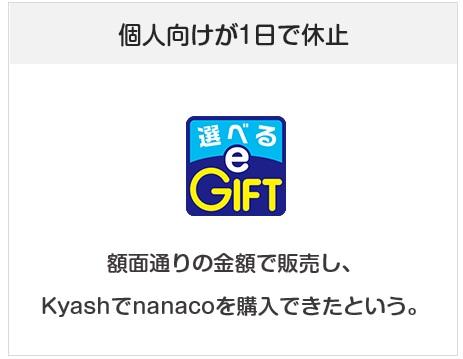 選べるeギフトが1日でサービス休止(Kyashでnanacoチャージできたため)
